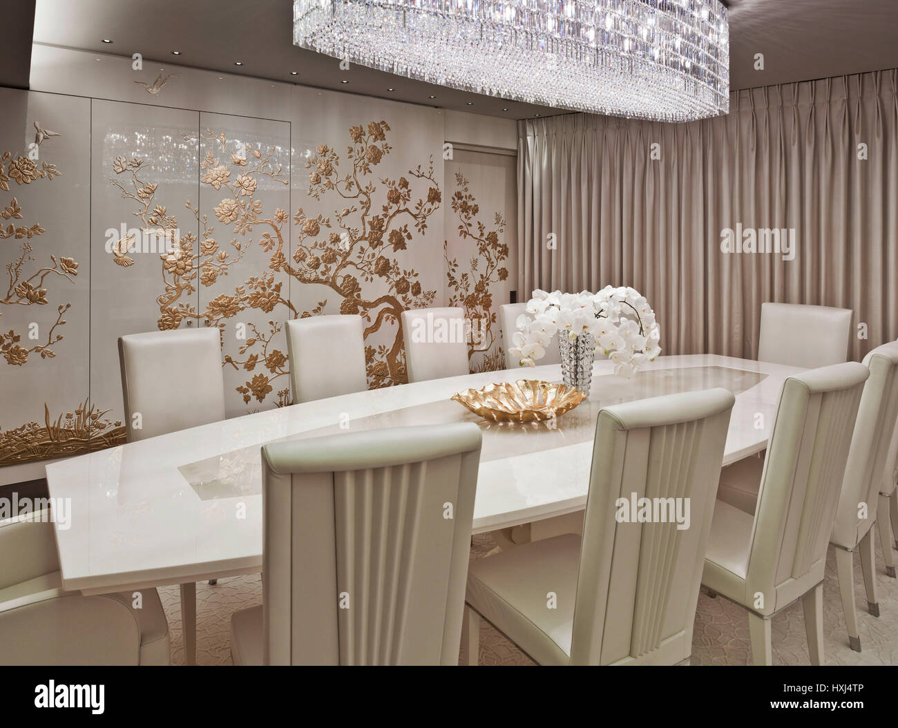 White Gold Dining Room In A Luxury Apartment London