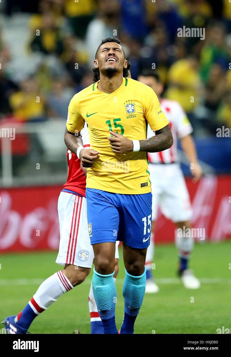 Sao Paulo Brazil 28th Mar 2017 Paulinho of Brazil reacts