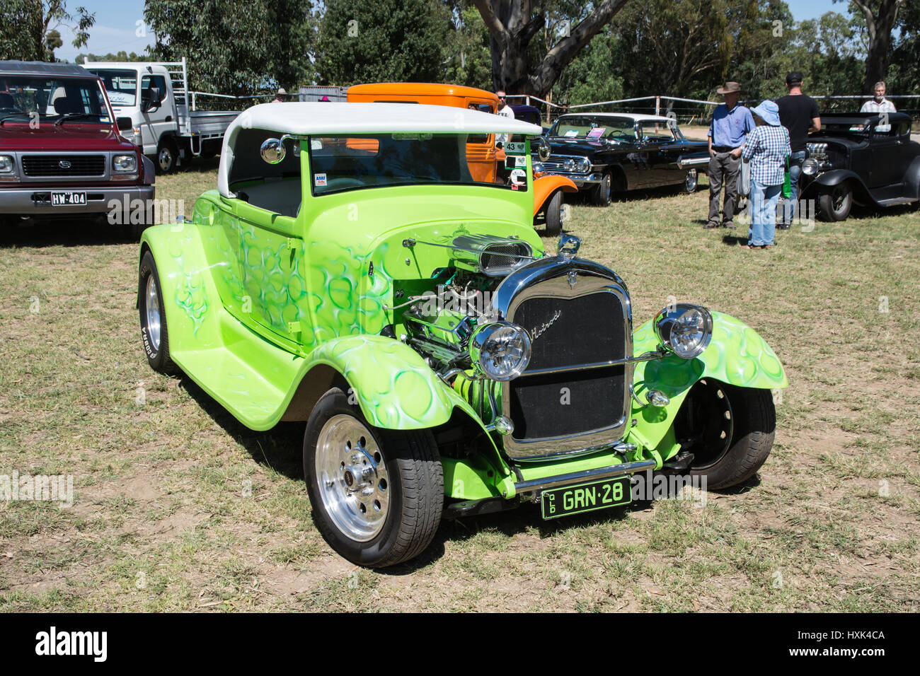 1928/29 Ford Model A Hot rod in Shades of Lime Green Stock Photo ...