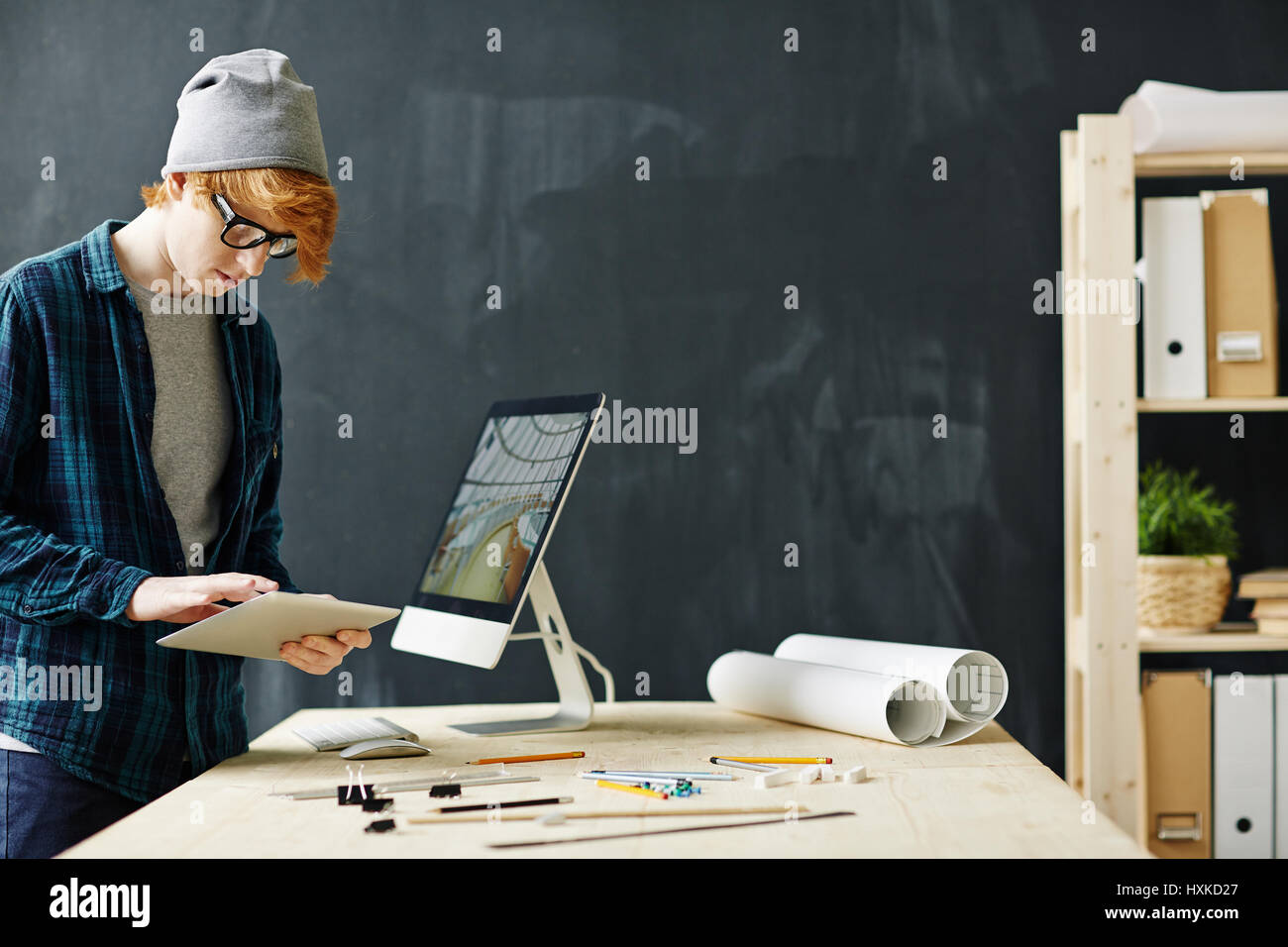 Architect Student red haired architect student stock photo, royalty free image