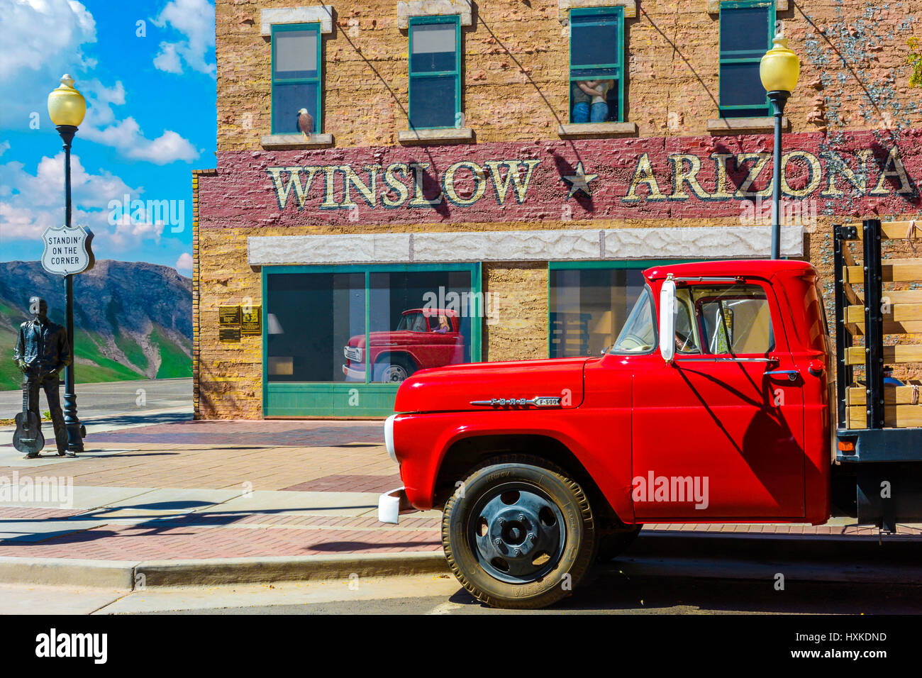 standing on the corner in winslow arizona stock photo royalty free image 136881513 alamy. Black Bedroom Furniture Sets. Home Design Ideas