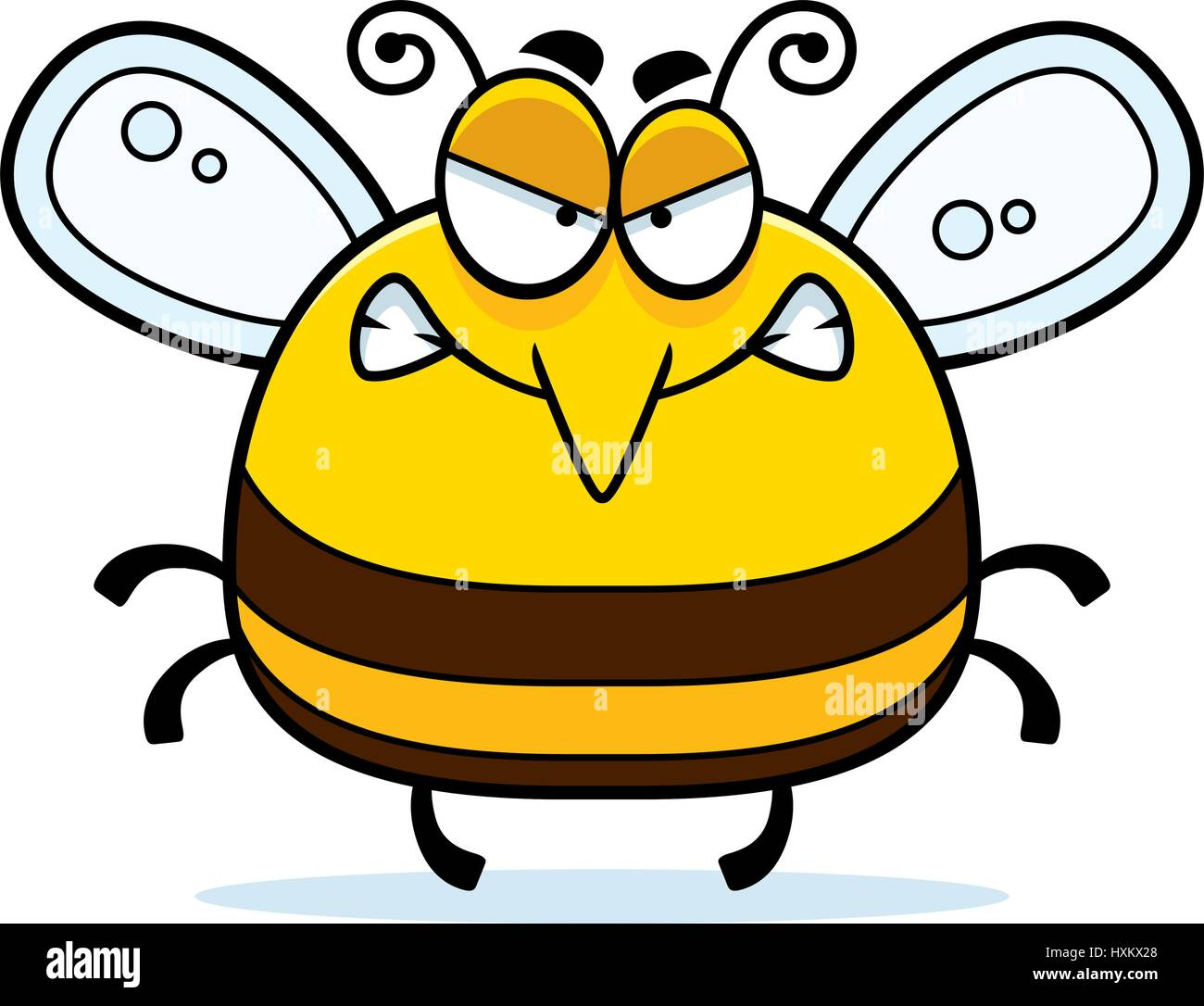 a cartoon illustration of a bee looking angry stock vector art