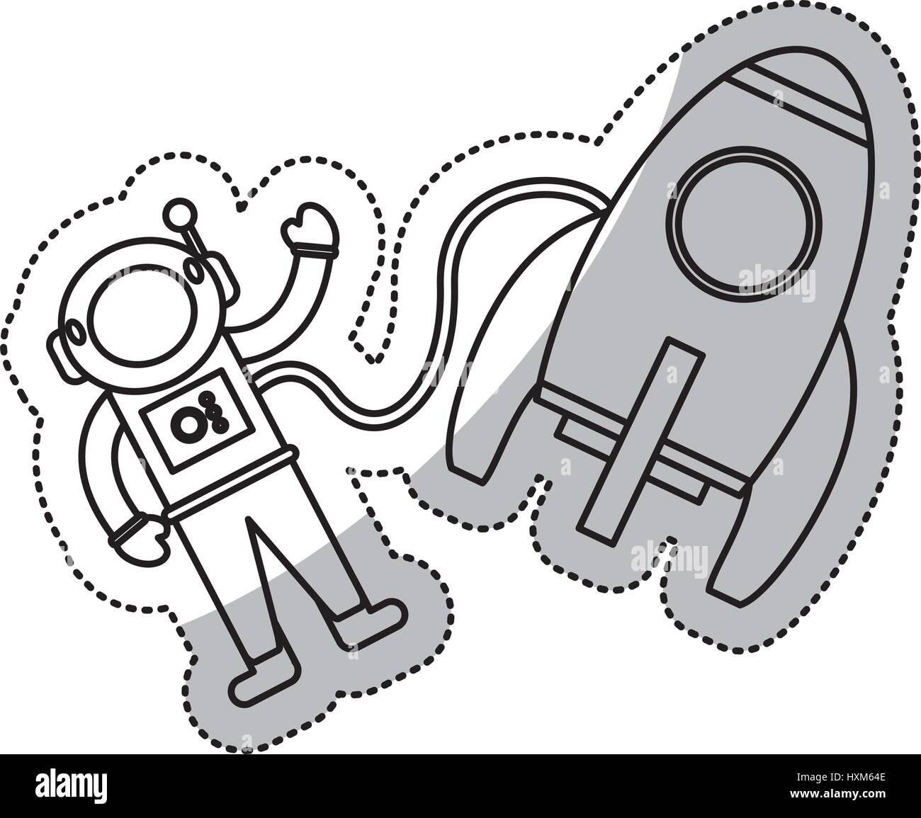 astronaut rocket exploration outline stock vector art