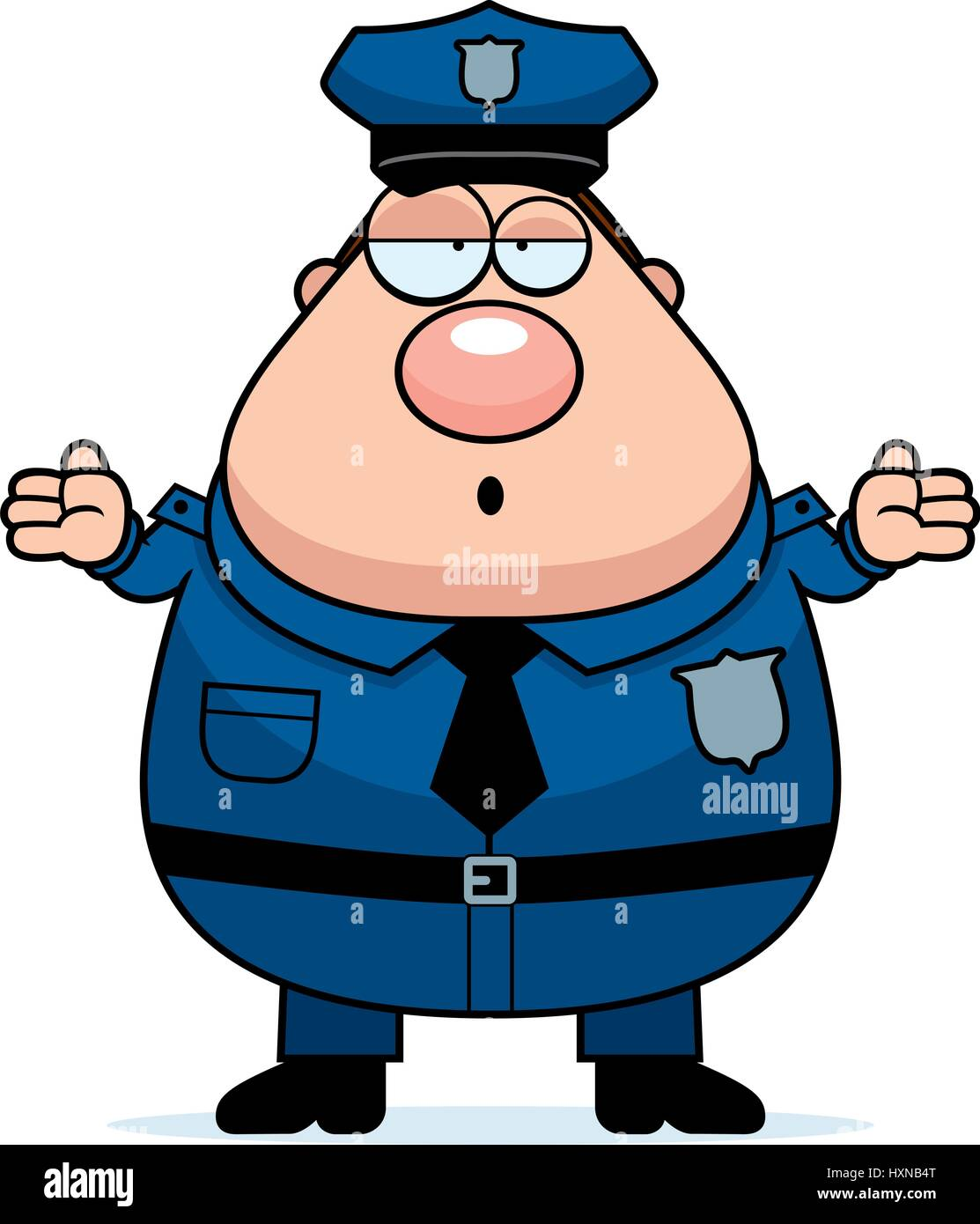 a cartoon illustration of an police officer looking confused stock