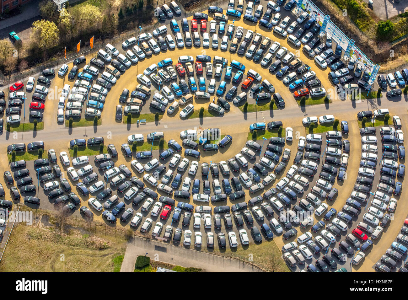 round parking areas of autohaus potthoff hamm potti used car stock photo royalty free image. Black Bedroom Furniture Sets. Home Design Ideas