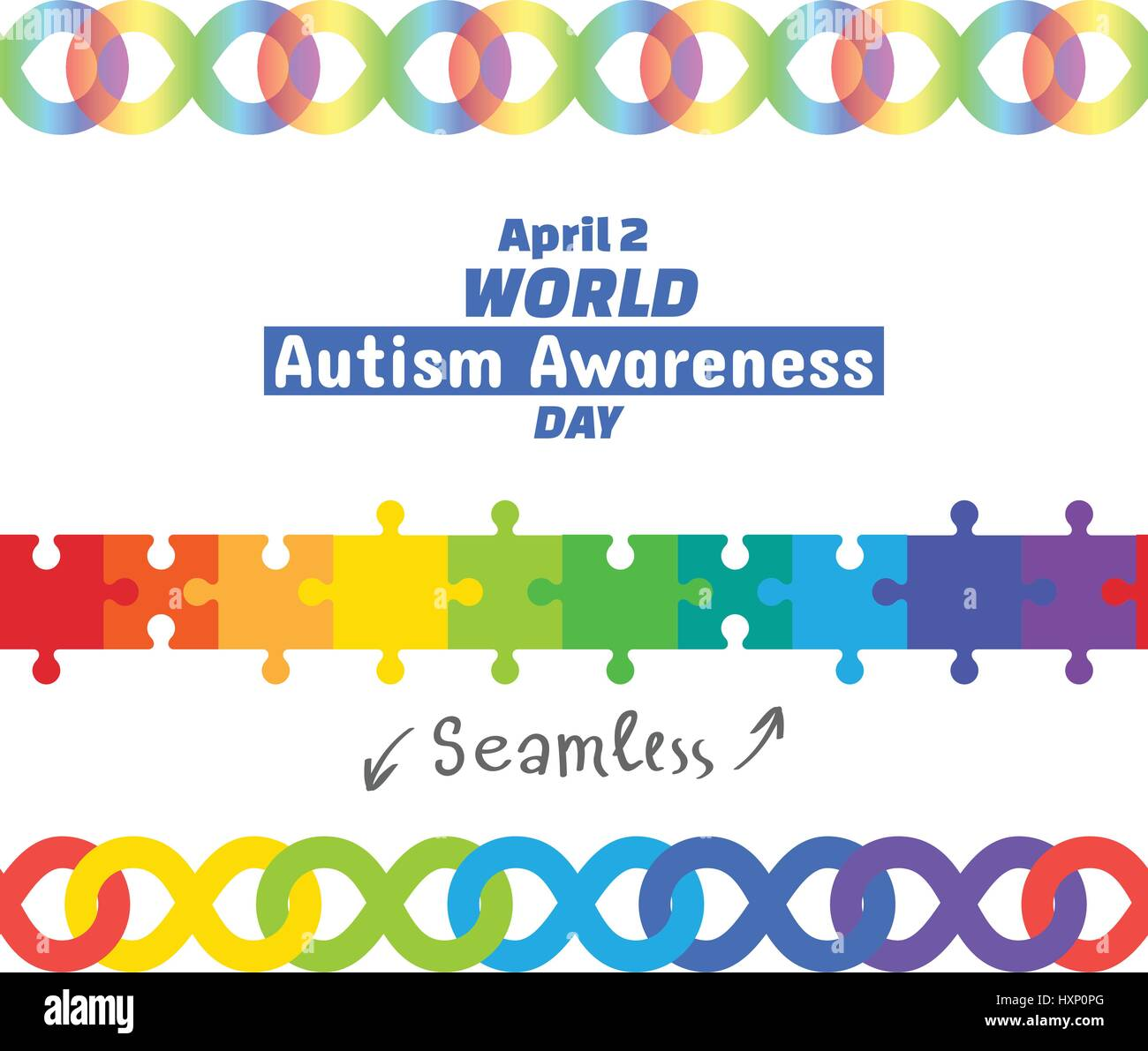 World autism awareness day april 2 2017 set of design elements world autism awareness day april 2 2017 set of design elements seamless borders puzzle pieces and infinity symbol rainbow color means diversity of biocorpaavc Gallery