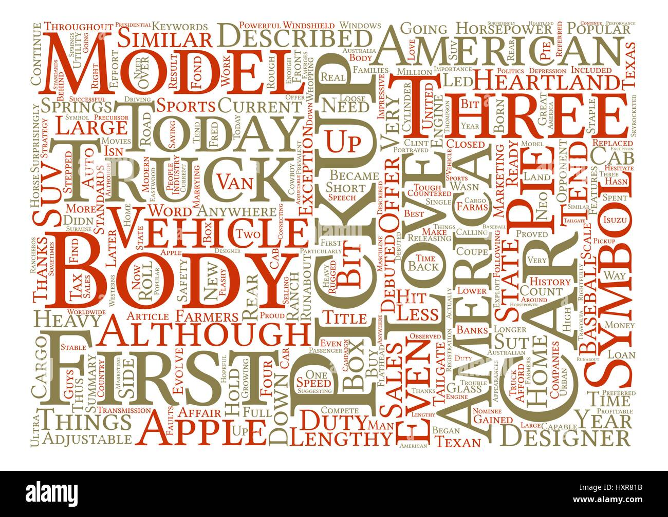 America S Love Affair With The Pickup Truck Word Cloud Concept Text Background