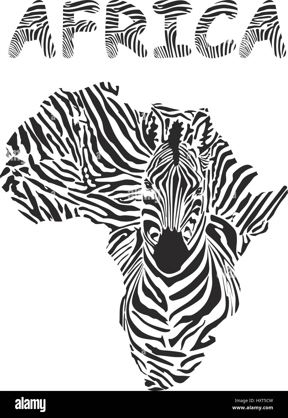 zebra silhouette and africa continent