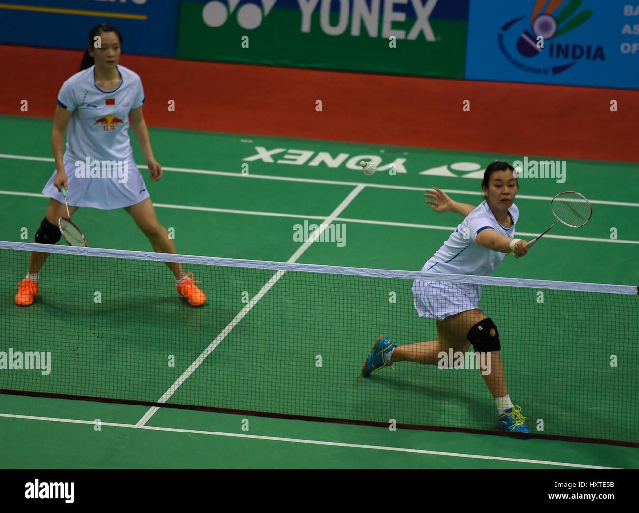 New Delhi India 30th Mar 2017 Huang Yaqiong and Tang Jinhua of