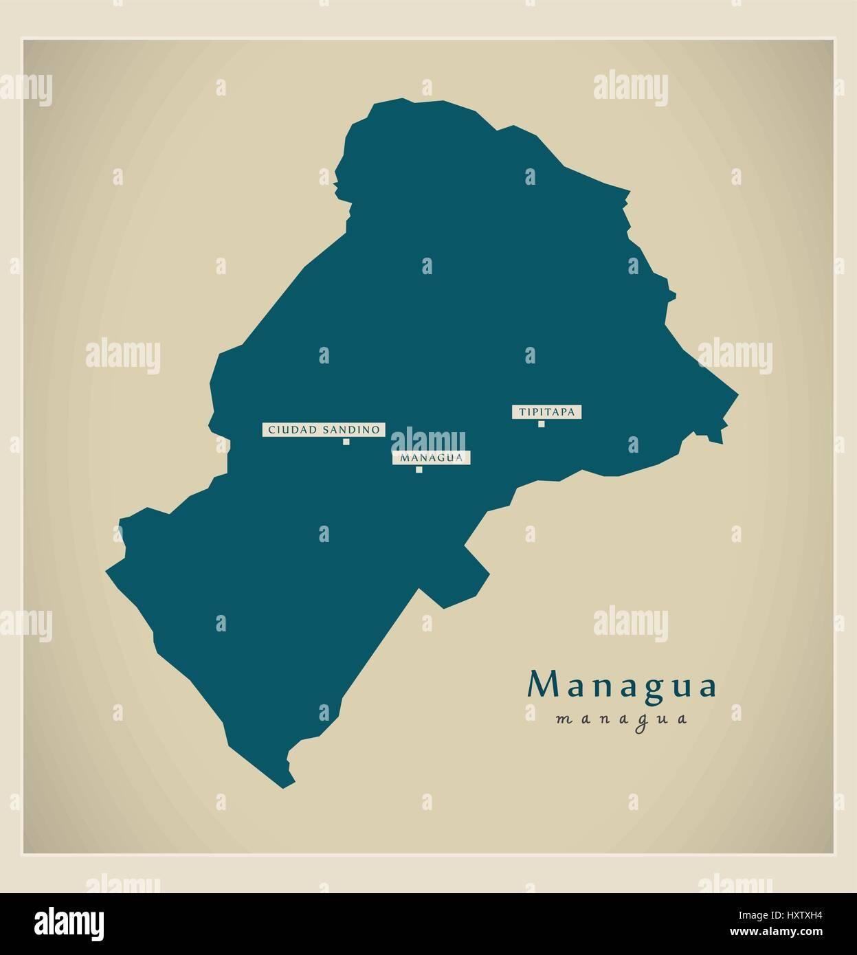 Modern Map Managua NI Stock Vector Art Illustration Vector