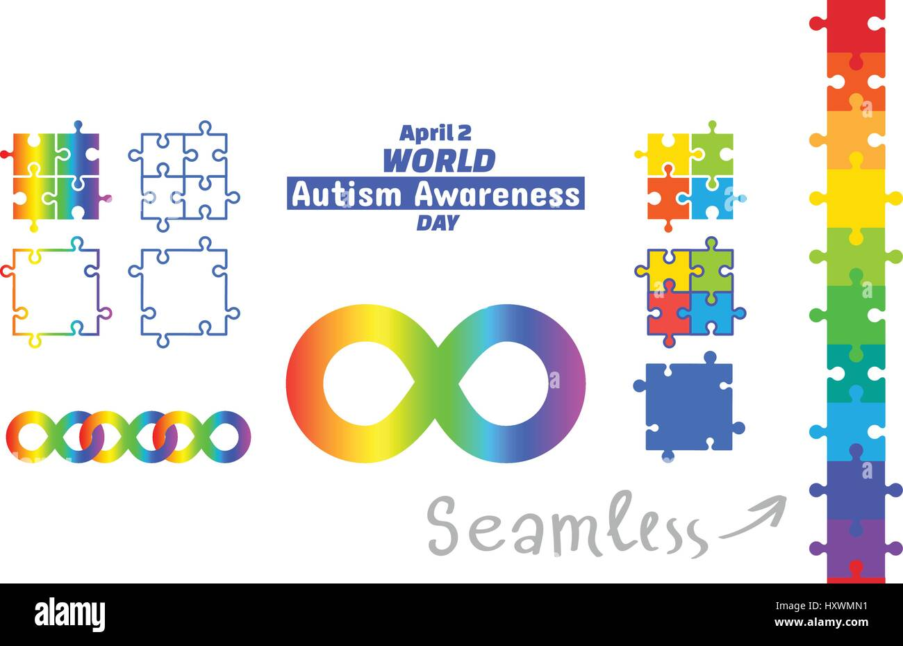 World autism awareness day april 2 set of design elements world autism awareness day april 2 set of design elements rainbow color of seamless borders frames puzzle pieces and infinity symbol means divers biocorpaavc