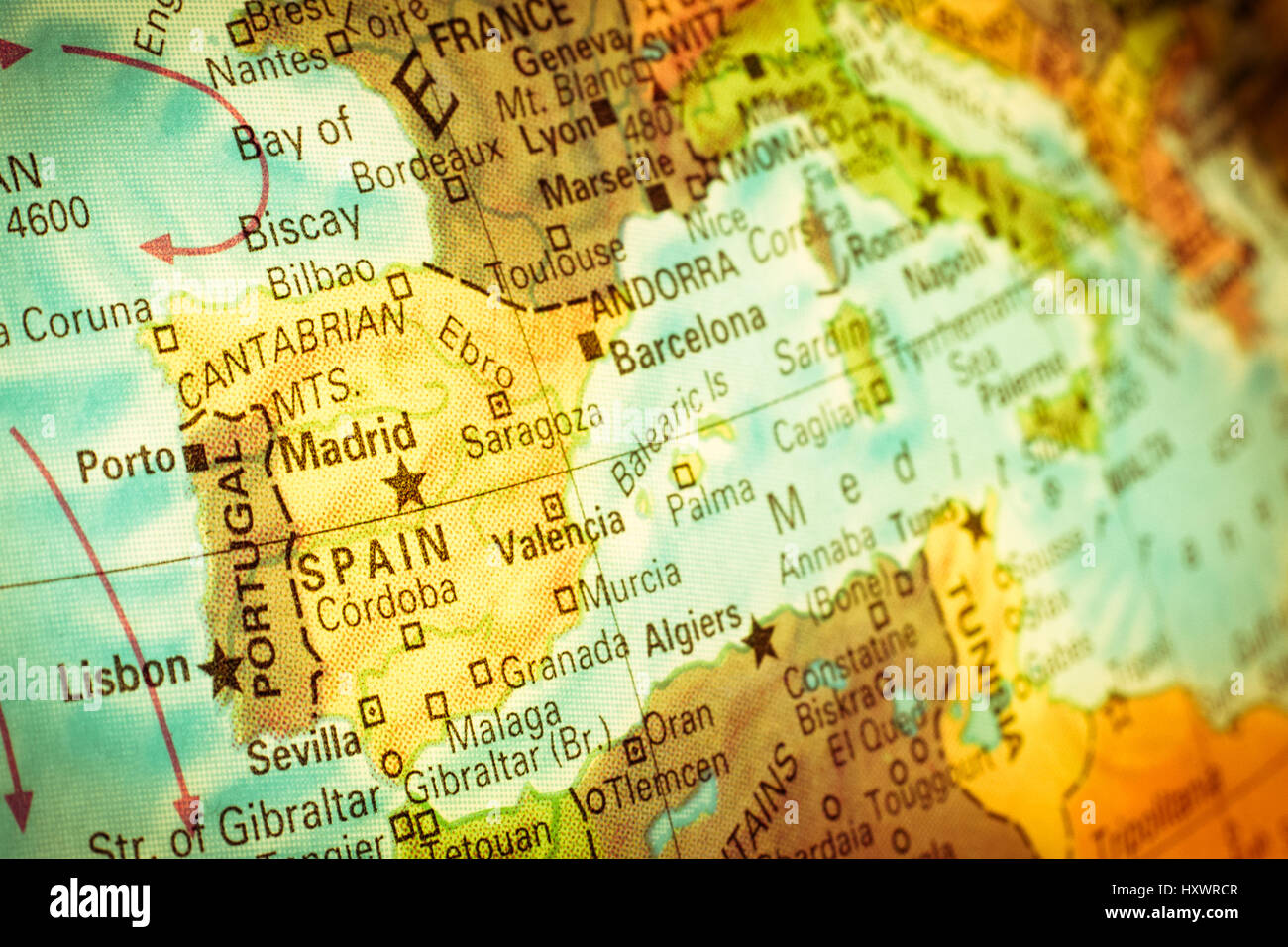 Map Spain Portugal Vintage Closeup Macro Image Of Spanish And - Map of portugal spain