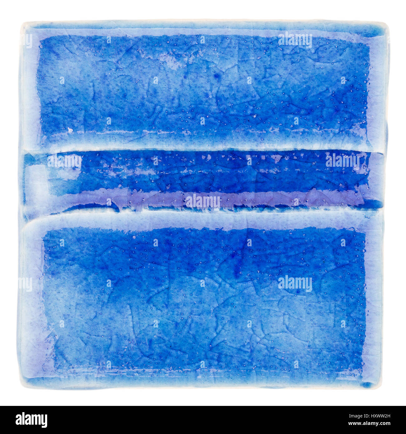 Blue lined handmade glazed ceramic tile isolated on white blue lined handmade glazed ceramic tile isolated on white background dailygadgetfo Choice Image