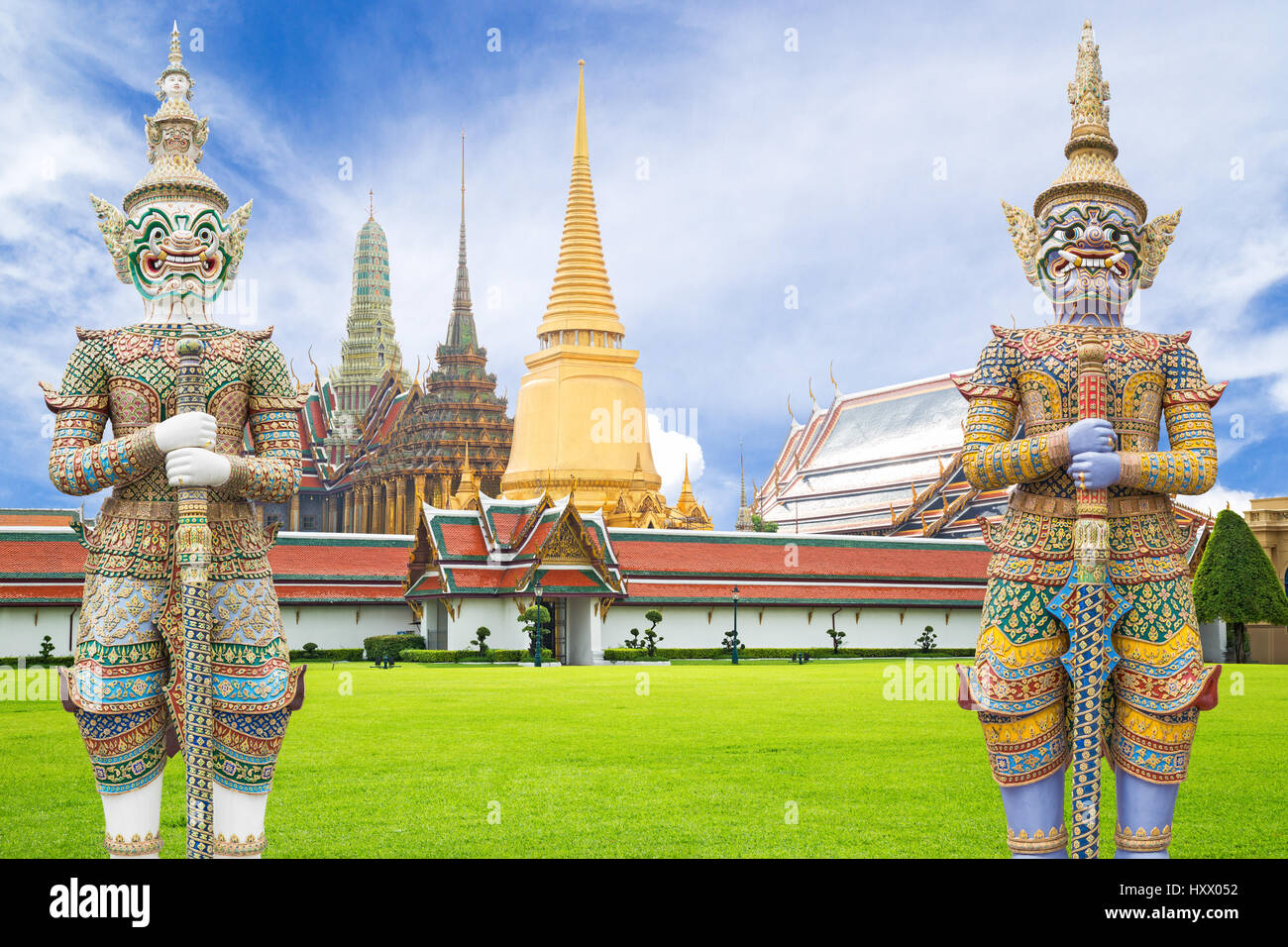 Giant guardian statue in Wat Phra Kaew Grand Palace Bangkok. Thailand Stock P...