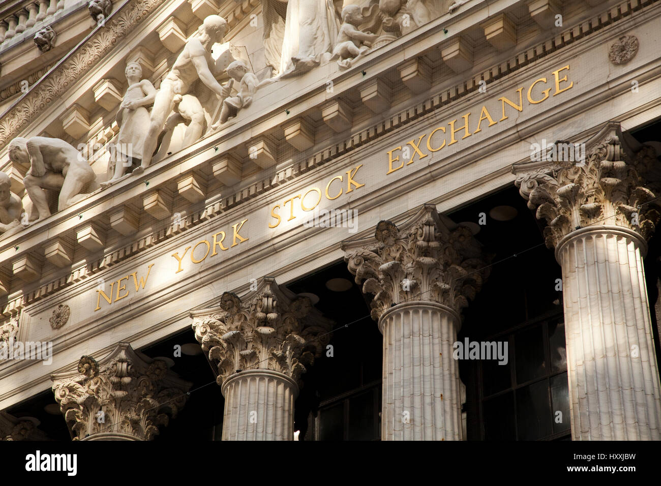 A View Of The Corinthian Columns And Entablature At New York Stock Exchange In City