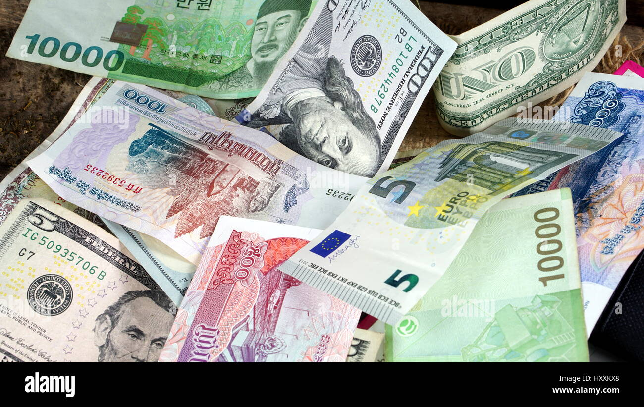 Us dollars korean won euro bills and some money bills and stock us dollars korean won euro bills and some money bills and banknotes currency foreign exchange business and financial or money management for inves buycottarizona