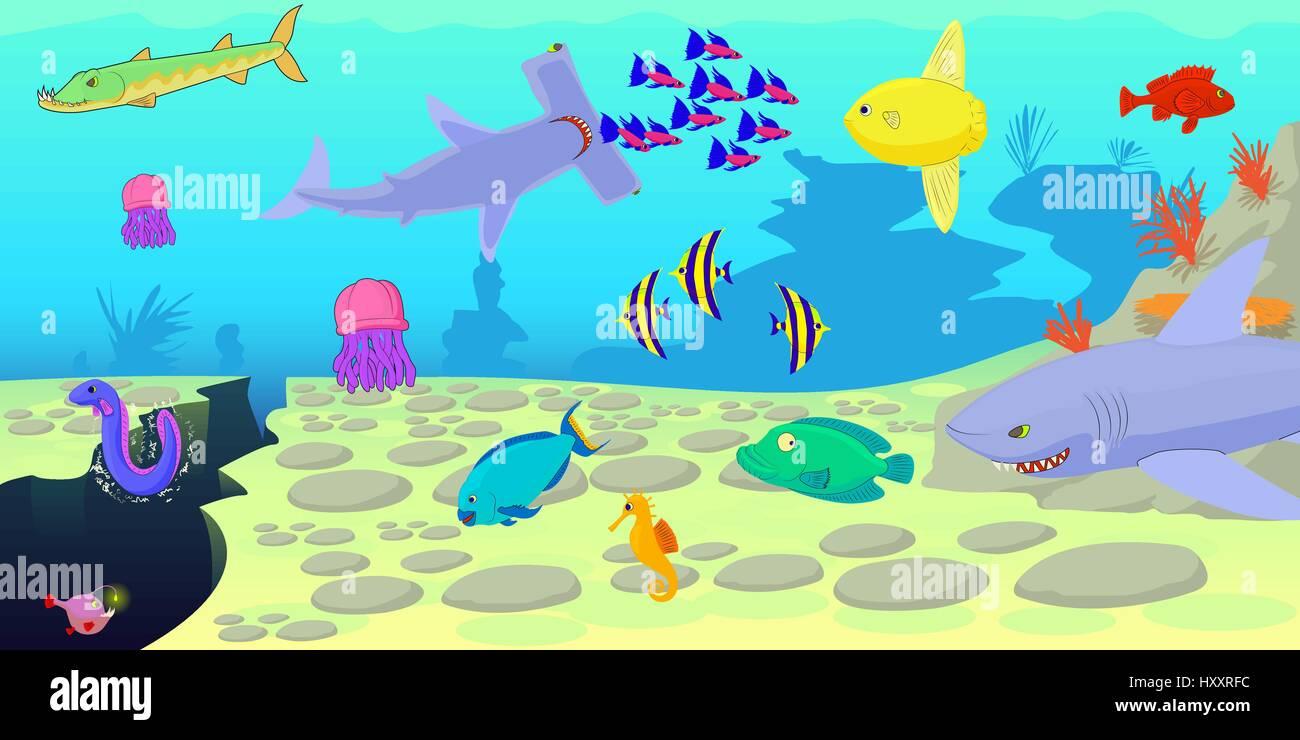 Ocean fish scene horizontal banner cartoon style stock vector art ocean fish scene horizontal banner cartoon style voltagebd Gallery