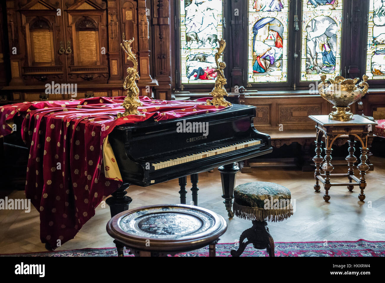 Empty room with chair violin and sheet music on floor photograph - Carl Bechstein Grand Piano In Music Room Of Peles Palace Former Royal Castle Built