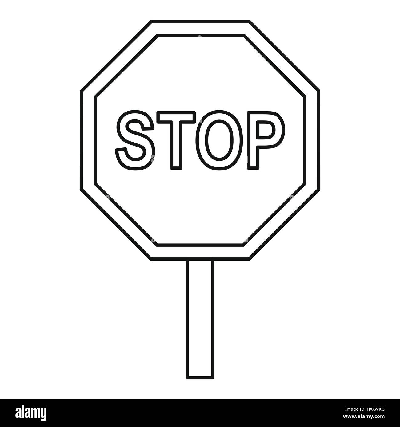 Stop traffic sign icon, outline style Stock Vector Art ...