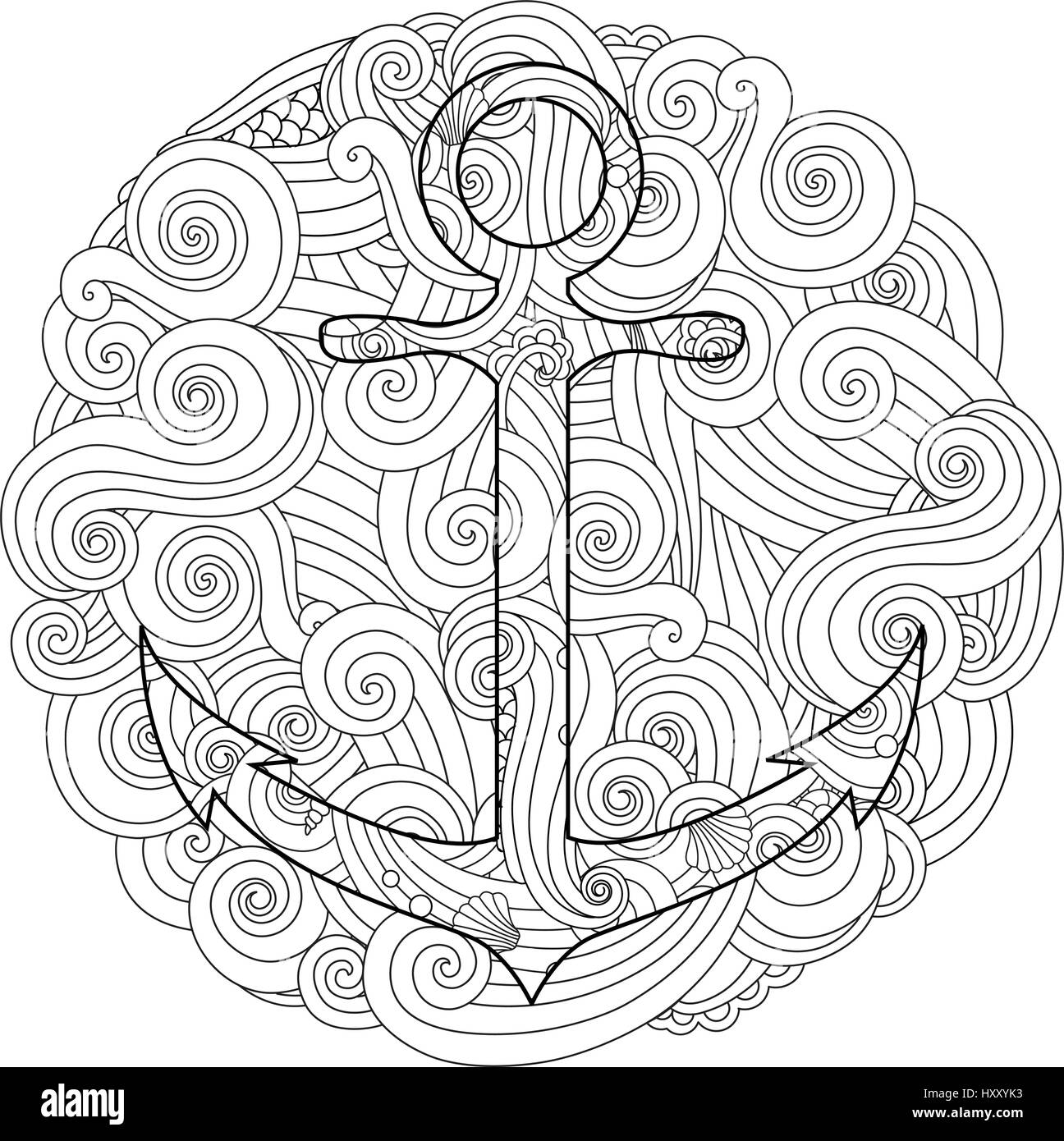 coloring page with anchor in wave mandala zentangle inspired doodle style