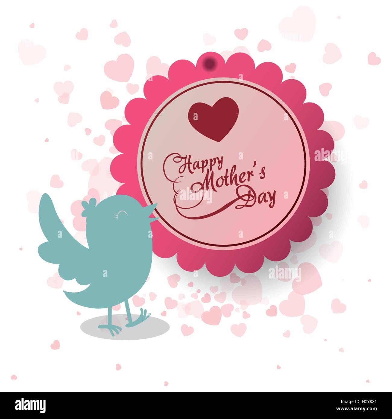 Happy mothers day invitation bird heart decoration label vector happy mothers day invitation bird heart decoration label vector illustration eps 10 stopboris Images