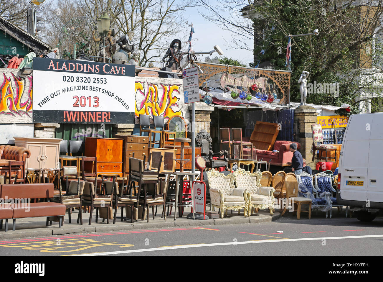 Aladin's Cave, a second-hand furniture store in Lewisham, southeast London.  Famous for packing the pavement with used household goods