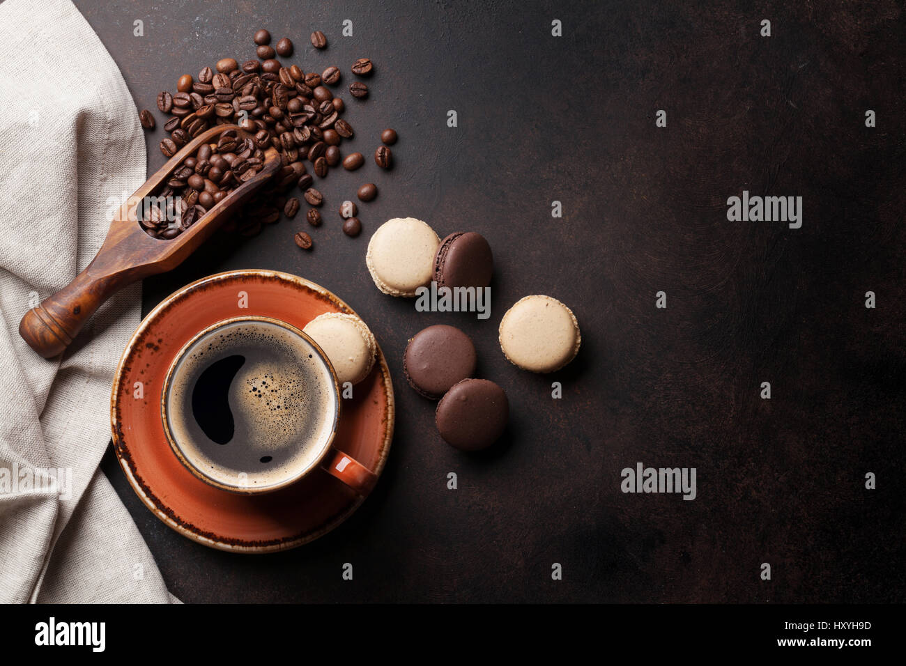 Kitchen table top view - Coffee Cup Beans And Macaroons On Old Kitchen Table Top View With Copyspace For Your Text