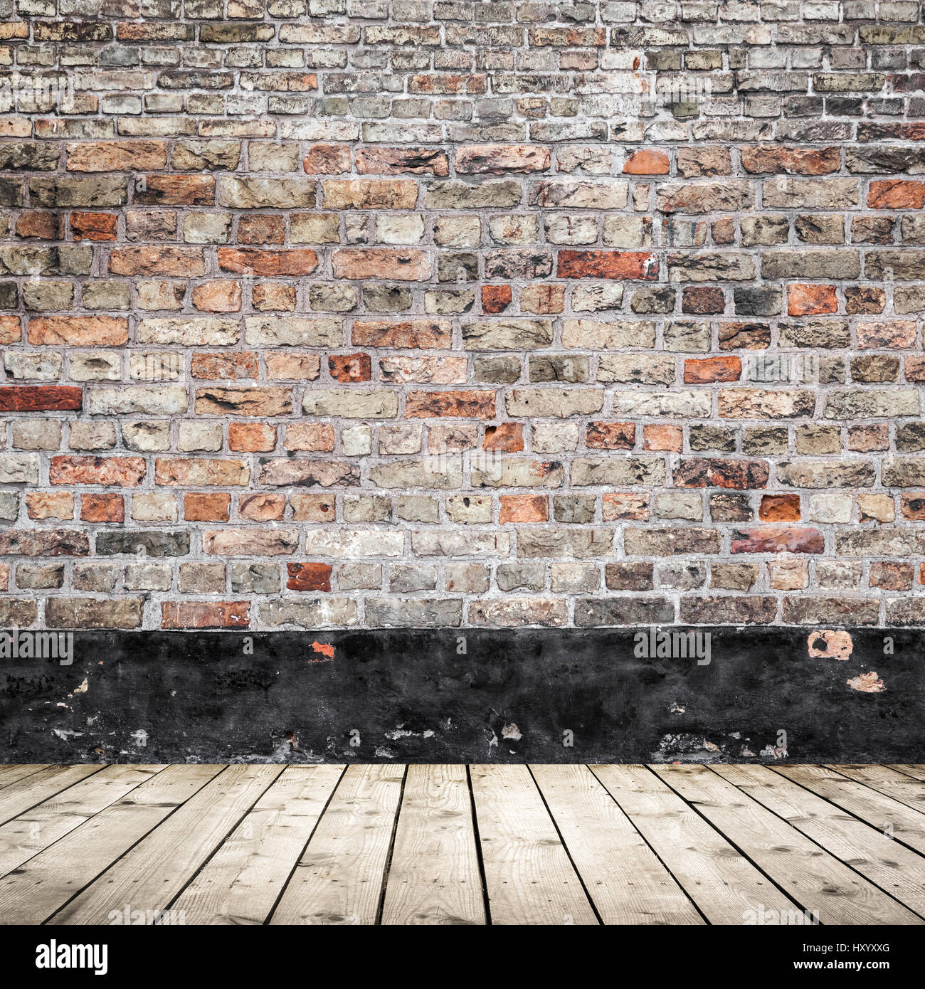 Plain wood table with hipster brick wall background stock photo - Old Red Brick Wall And Wooden Floor Abstract Empty Interior Background Texture Stock Image