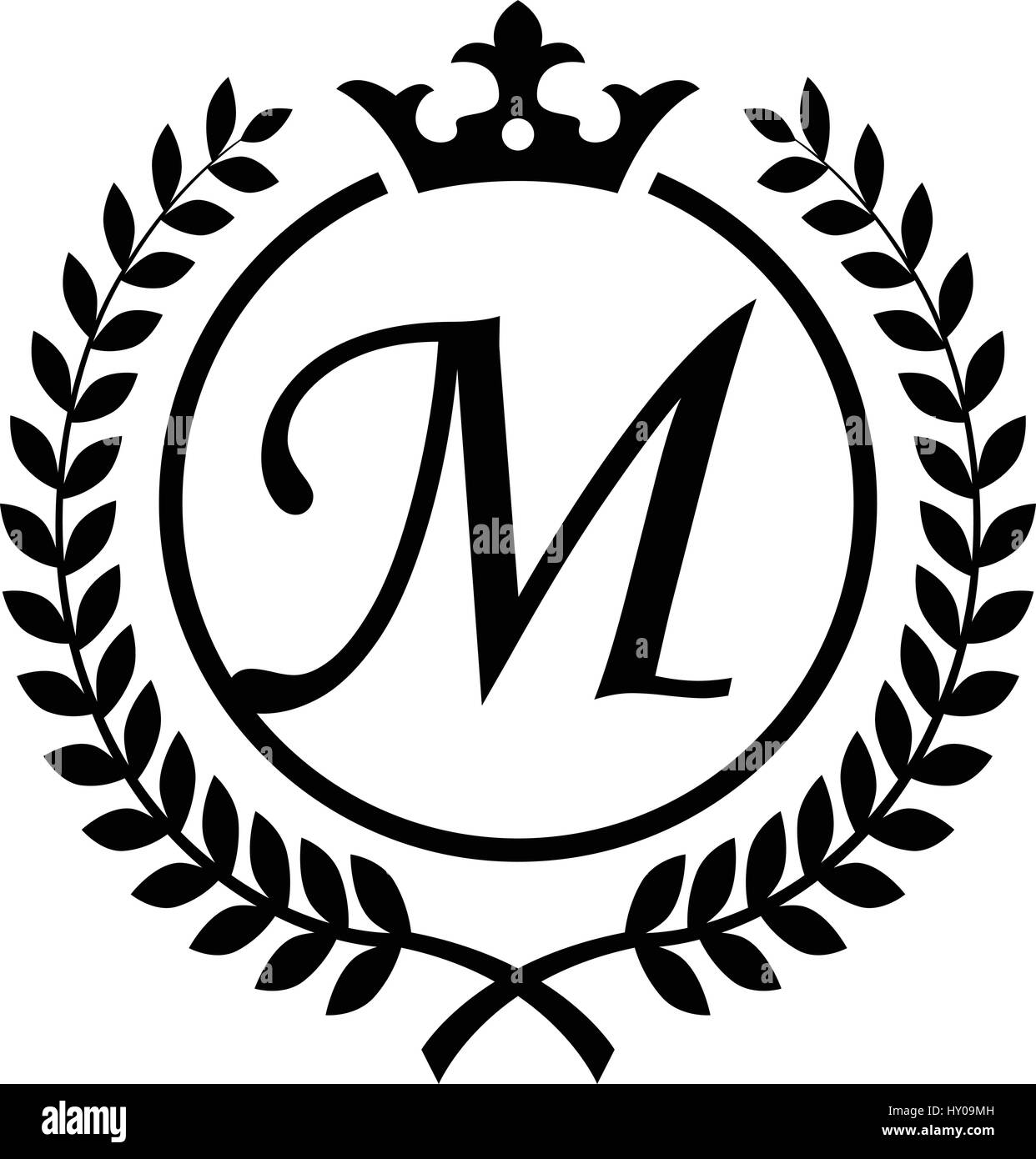 vintage letter m initial inside laurel wreath symbol design stock vector art illustration. Black Bedroom Furniture Sets. Home Design Ideas