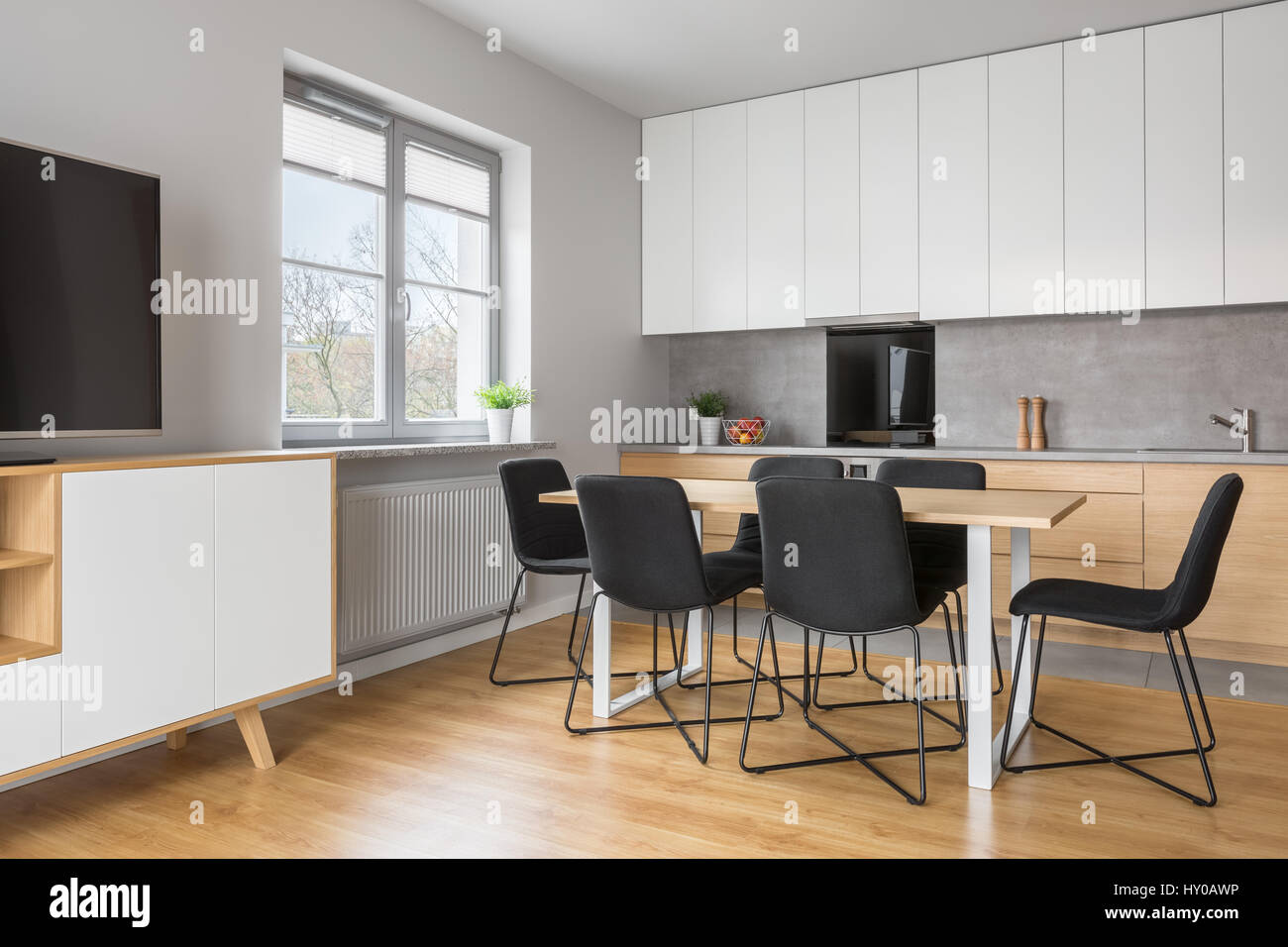 Grey And White Apartment With Kitchen Open To Tv Living Room