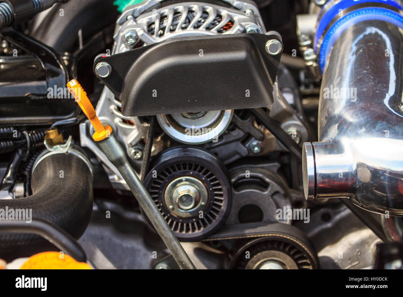 Car engine, Fragment of modern automobile motor Stock Photo ...