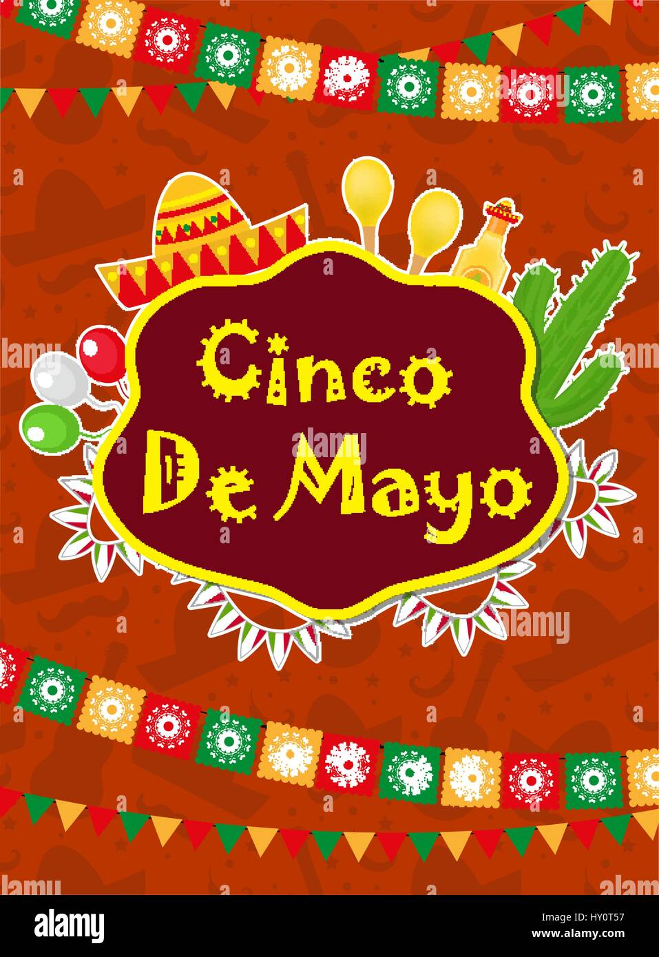 Cinco de mayo greeting card template for flyer poster cinco de mayo greeting card template for flyer poster invitation mexican celebration with traditional symbols vector illustration stopboris Images