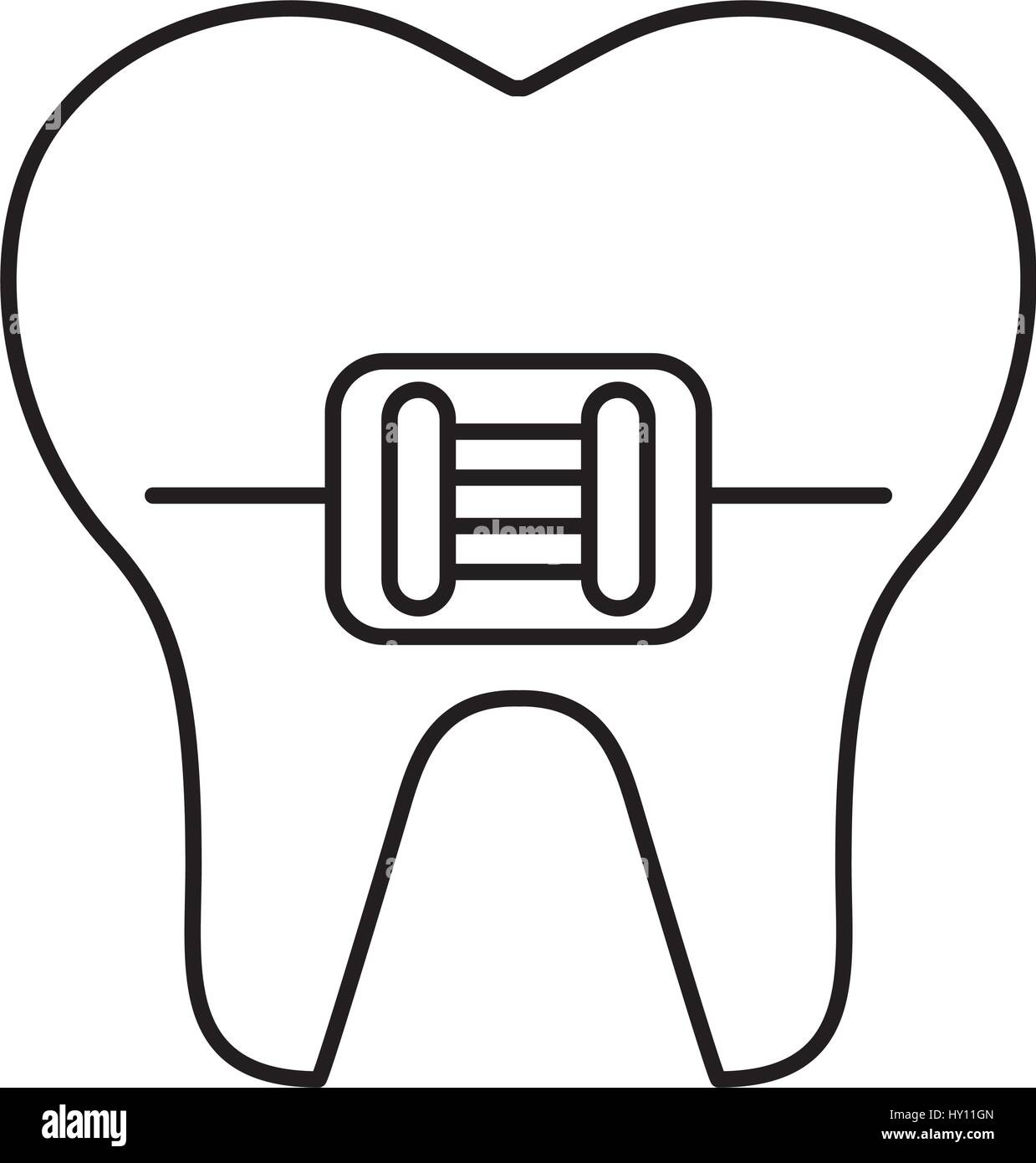 tooth with orthodontic bracket isolated icon stock vector art