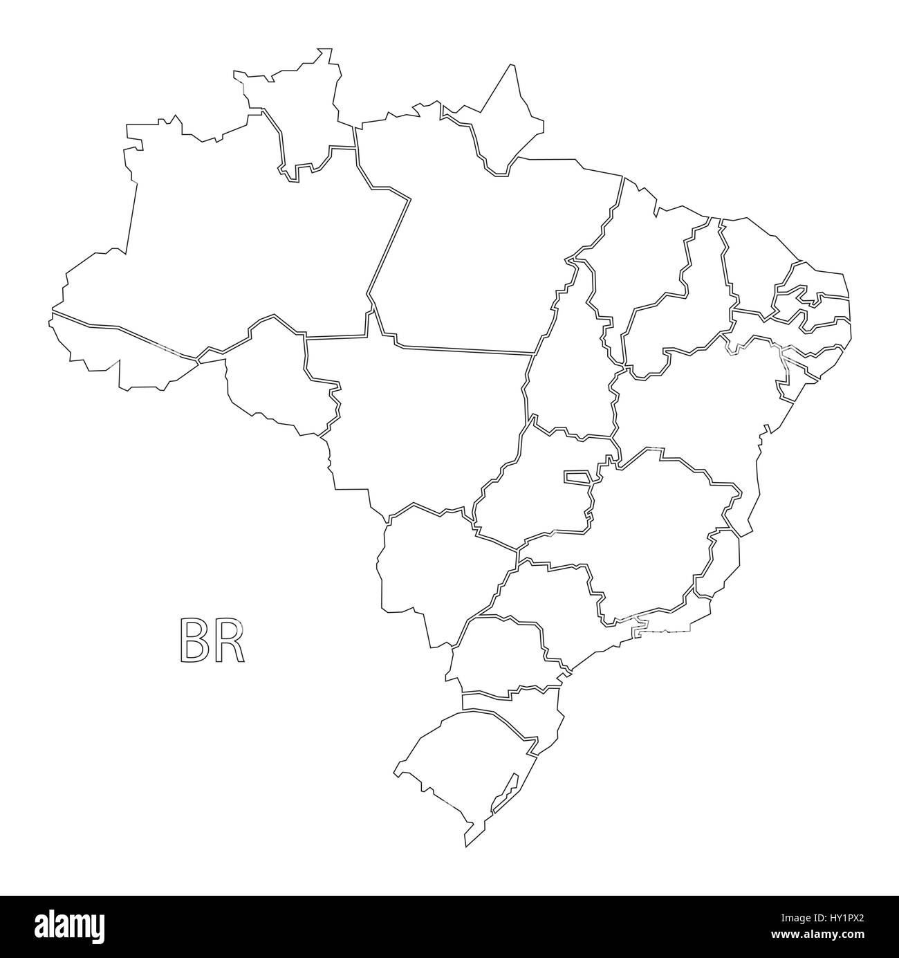 Brazil Outline Silhouette Map Illustration With Districts Stock - Brazil map illustration