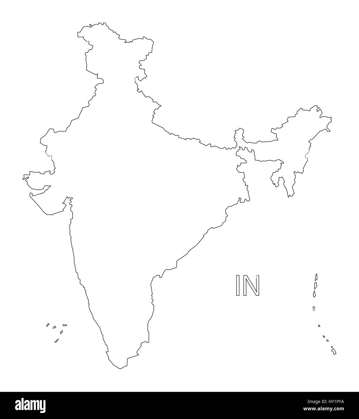 india outline silhouette map illustration stock vector art