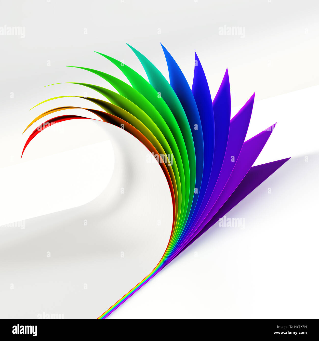 blank document rainbow colored curled corner side view graphic design element empty poster template