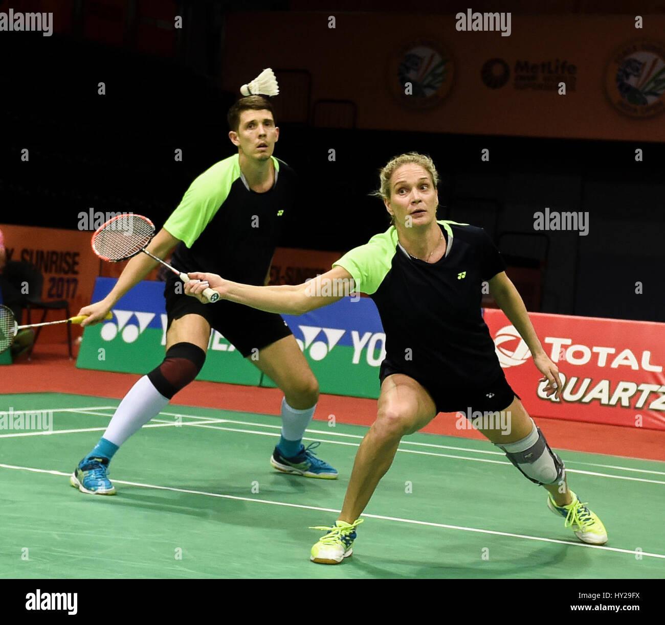 New Delhi India 31st Mar 2017 Evgenij Dremin and Evgenia
