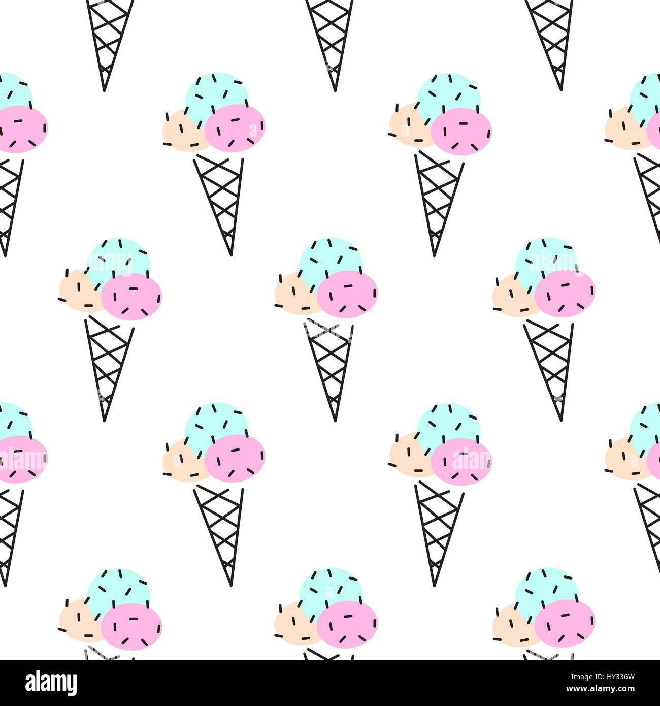 Sweet Ice Cream Flat Colorful Seamless Pattern Vector: Ice Cream Cone Vector Seamless Pattern. Pop Art Pink And