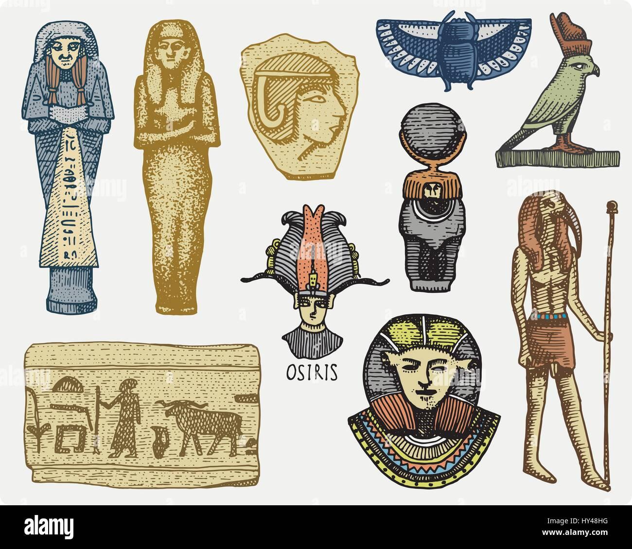 Egyptian symbols pharaon scorob hieroglyphics and osiris head egyptian symbols pharaon scorob hieroglyphics and osiris head god vintage engraved hand drawn in sketch or wood cut style old looking retro biocorpaavc