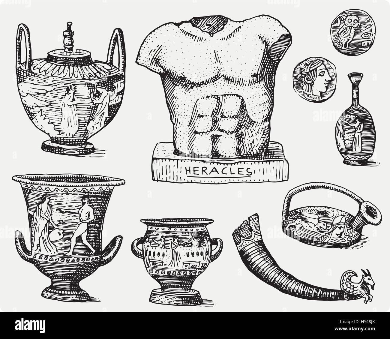 Ancient greece antique symbols greek coins heracles sculpture ancient greece antique symbols greek coins heracles sculpture anphora vintage engraved hand drawn in sketch or wood cut style old looking retro biocorpaavc