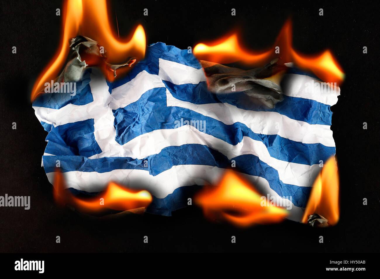 Greece flag in flames symbolic photo debt quarrel greece flag in flames symbolic photo debt quarrel griechenlandfahne in flammen symbolfoto schuldenstreit buycottarizona