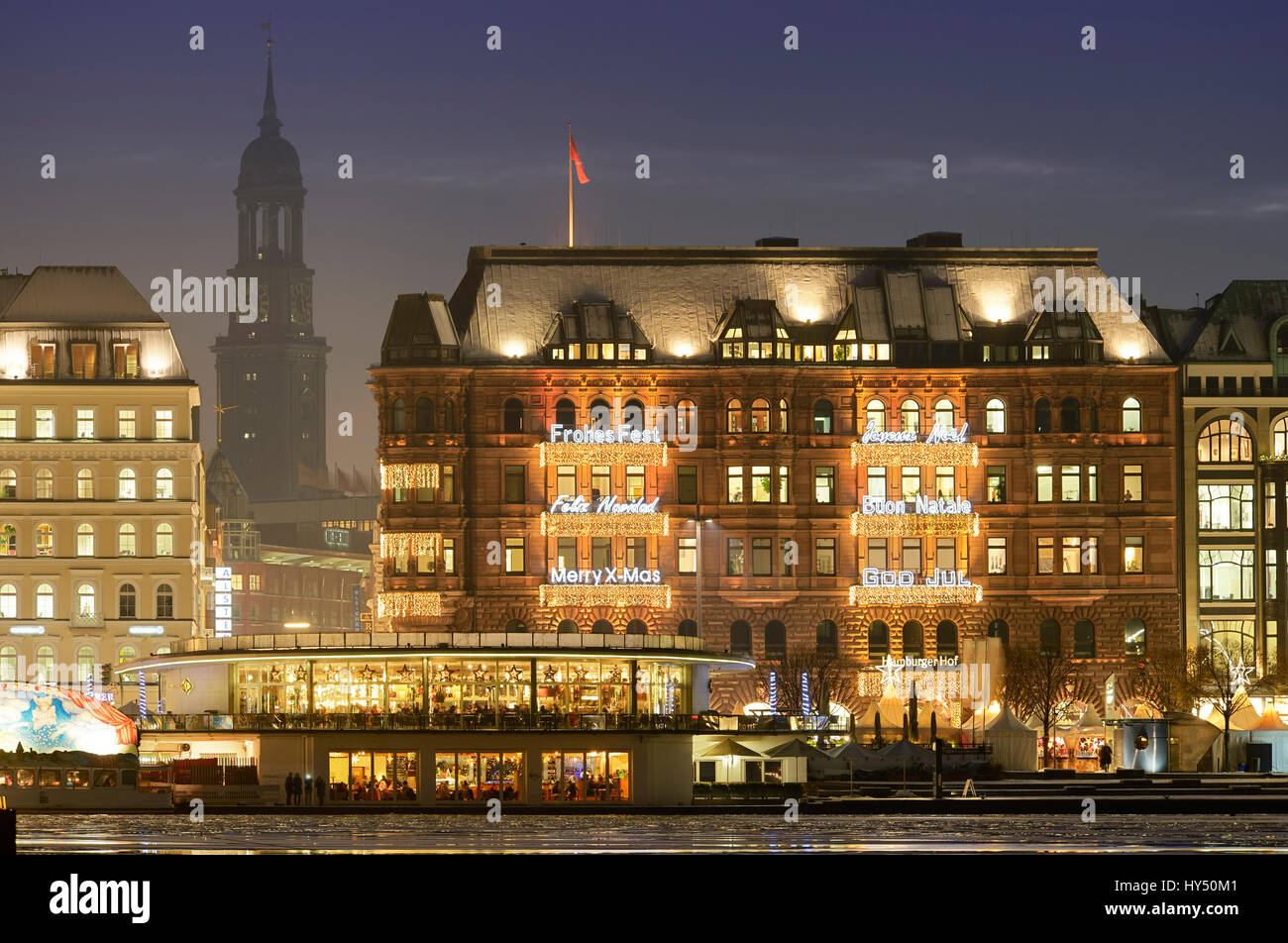 Hamburg court with Christmas lighting Alster pavilion and Michel in Hamburg Germany Europe Hamburger Hof mit Weihnachtsbeleuchtung Alsterpavillon & Hamburg court with Christmas lighting Alster pavilion and Michel ... azcodes.com