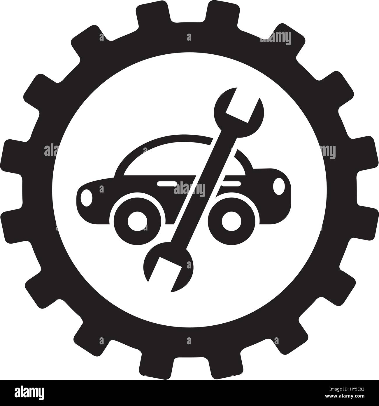 tool icon vector. stock vector car with wrench mechanic tool icon