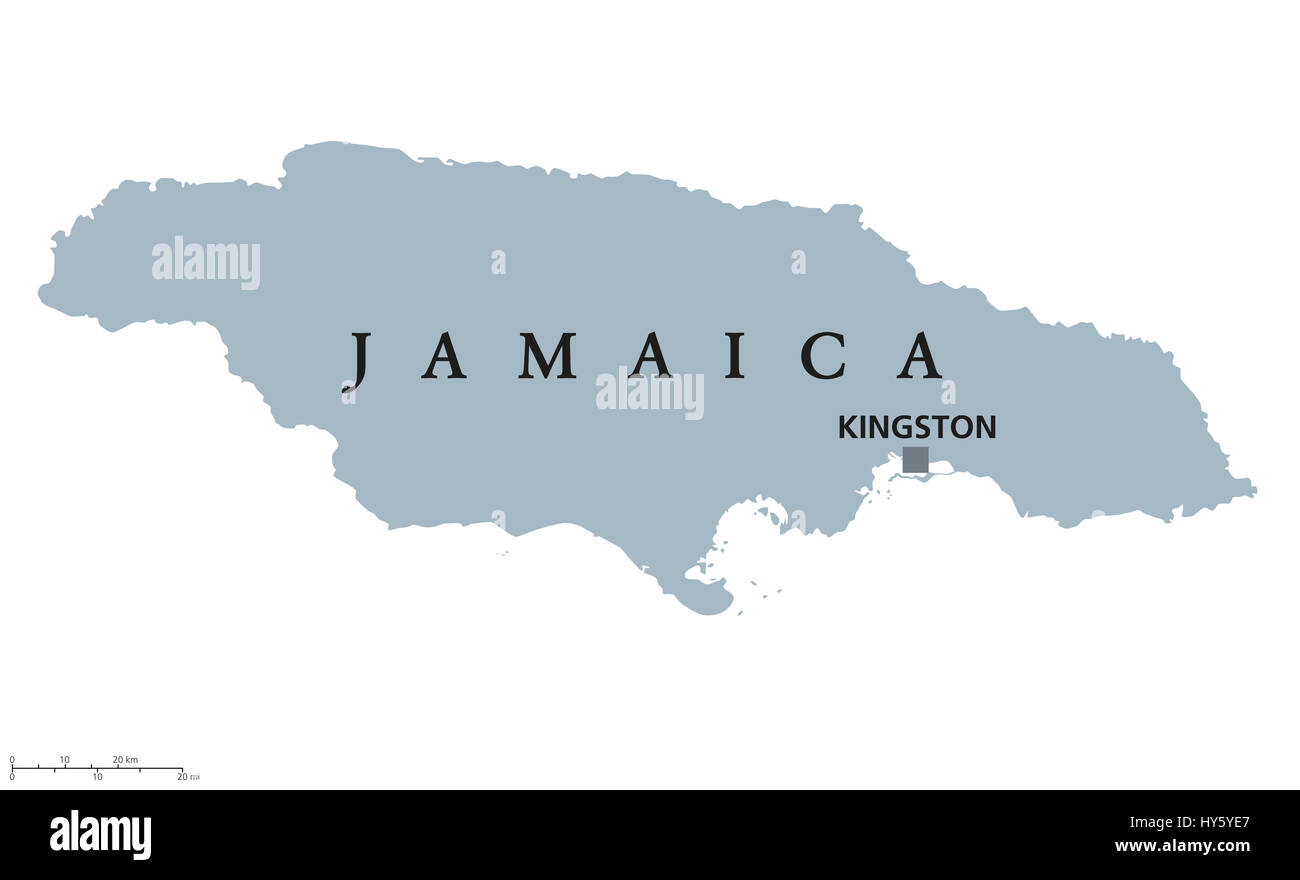 Jamaica Political Map With Capital Kingston Country In The - Jamaica map caribbean sea
