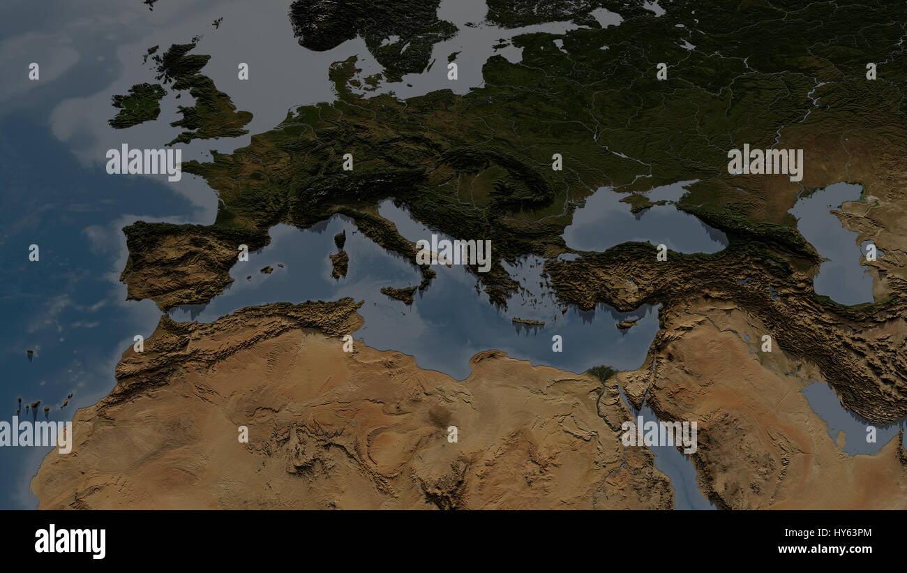 Europe and NorthAfrica Map with highly detailed 3D terrain and