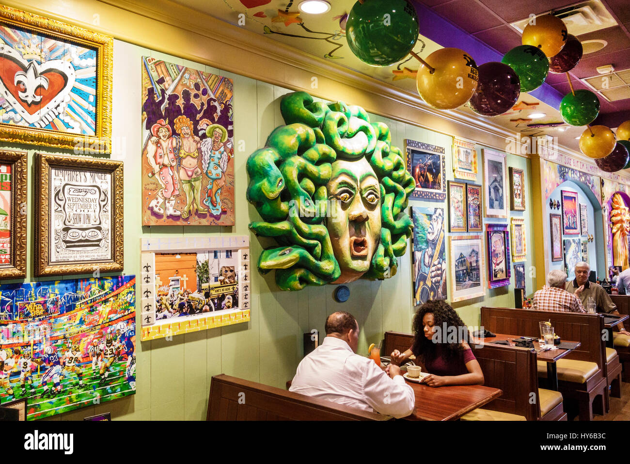 Winter Park Orlando Florida Tibbyu0027s New Orleans Kitchen Restaurant Interior  Carnival Theme Decor Booth Man Black Woman