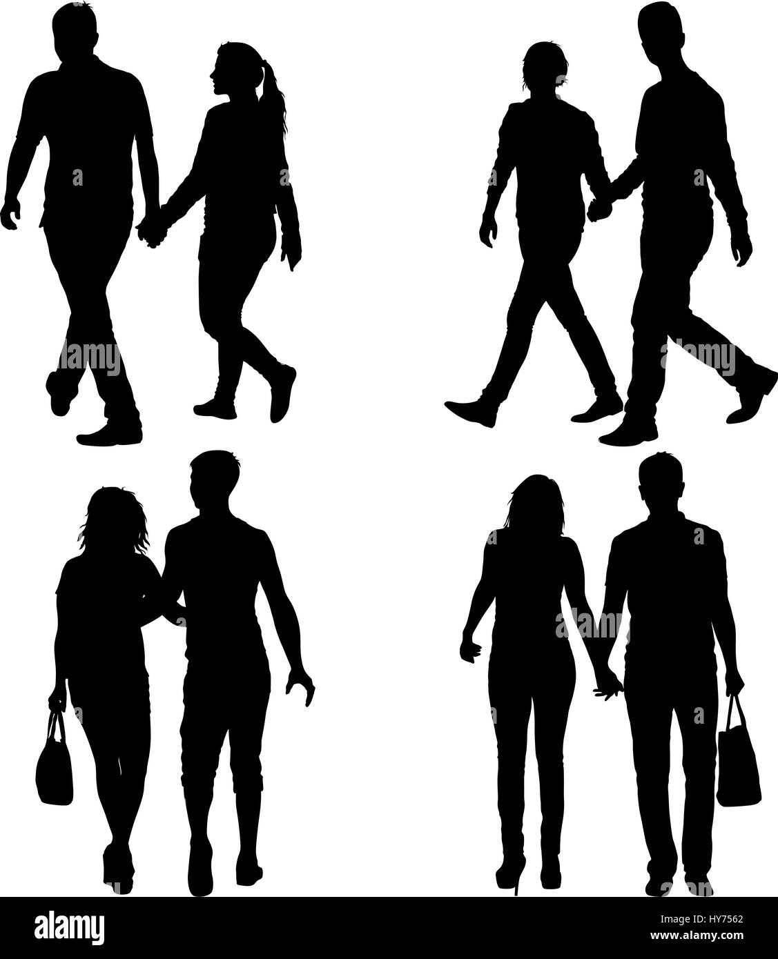 Set Silhouette man and woman walking hand in hand Stock ...
