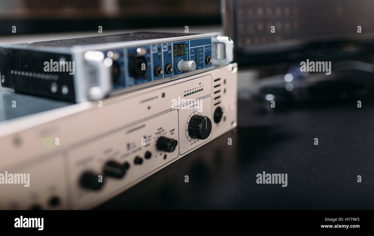 Professional Audio Engineering Equipment Closeup Sound Radio Or Music Studio Instrument