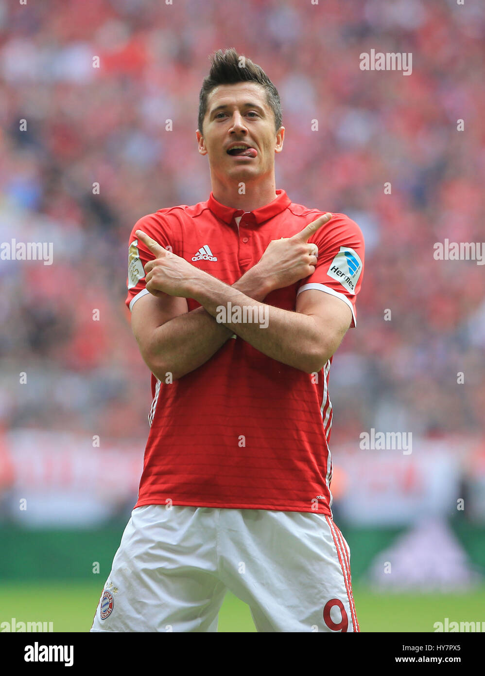 Munich Germany 1st Apr 2017 Bayern Munich s Robert Lewandowski