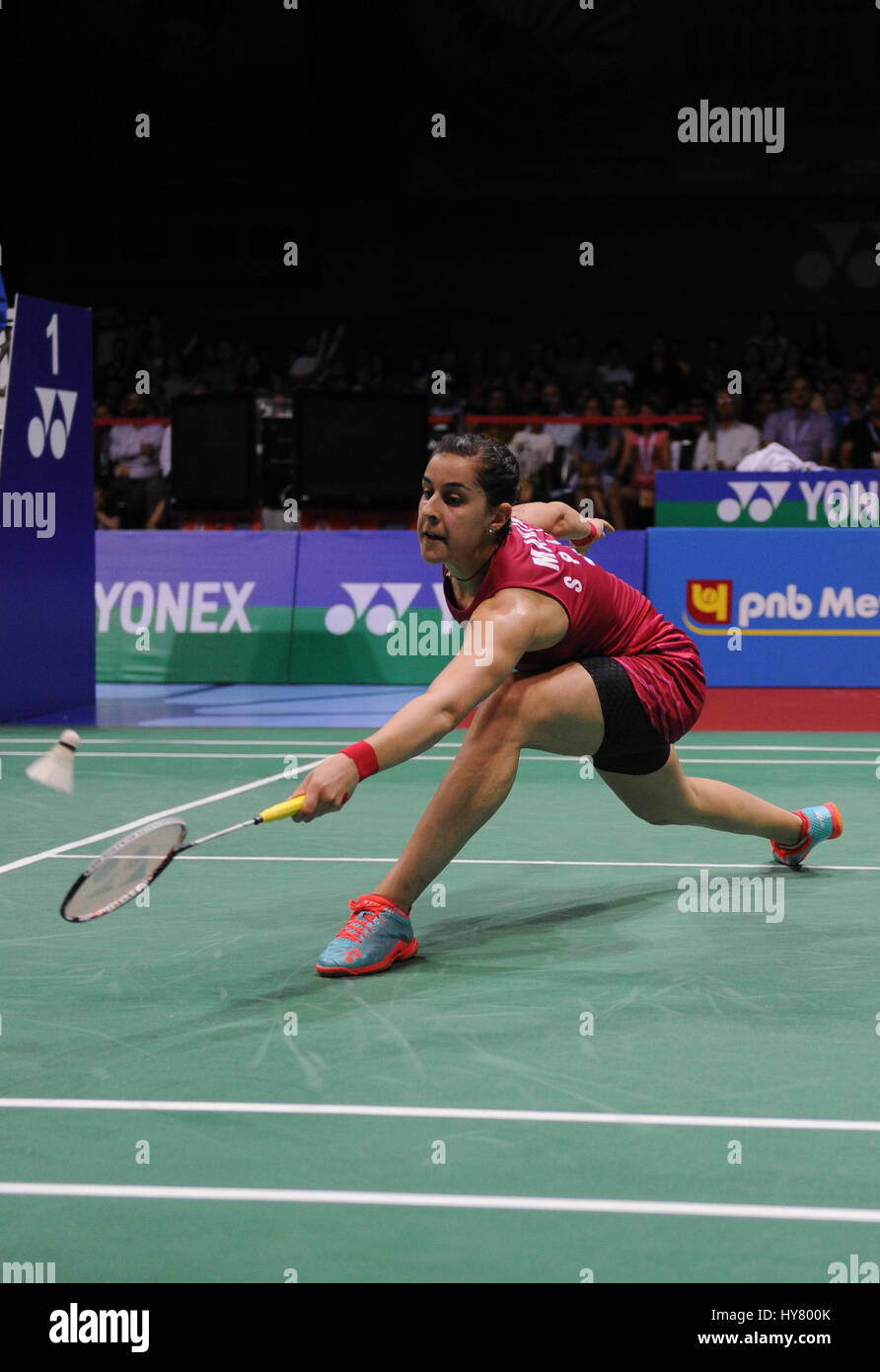 New Delhi India 2nd Apr 2017 Carolina Marin of Spain petes